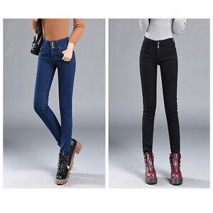 Womens-Warm-Fleece-Lined-Stretch-Denim-Jeggings-Jeans-Thermal-slim-Leggings-AU