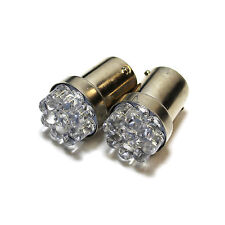 2x Blanco 9-led [ Ba15s,382,1156, P21W ] 12v reverse/number Placa Bombillas