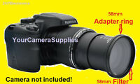 Adapter + Uv Filter For Fuji Finepix S8300 S8500 58mm (ring For Filters Only)