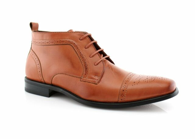 NEW FASHION MENS ANKLE BOOTS LEATHER LINED LACE UP DRESSY SHOES BROWN MFA806005A