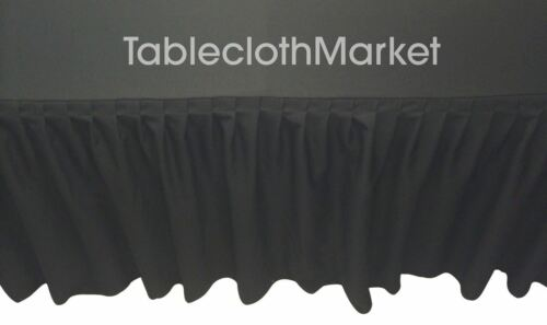 Fitted Table Skirting Cover w// Top Topper Single Pleated Trade show BLACK 8/' ft