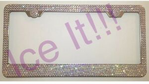 With Screw Caps SWAROVSKI AB Iridescent Crystals license plate frame 7 rows