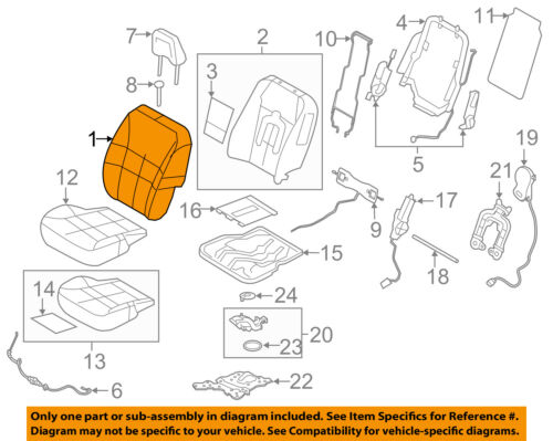 FORD OEM 13-14 Edge Front Seat-Cushion Cover-Top Back Left CT4Z7864417AC