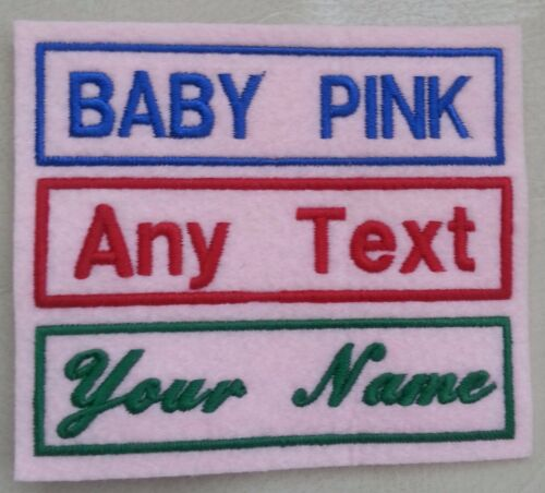1 LINE BABY PINK PERSONALISED NAME TAG PATCH £2.99 FELT Buy 3 get 1 FREE