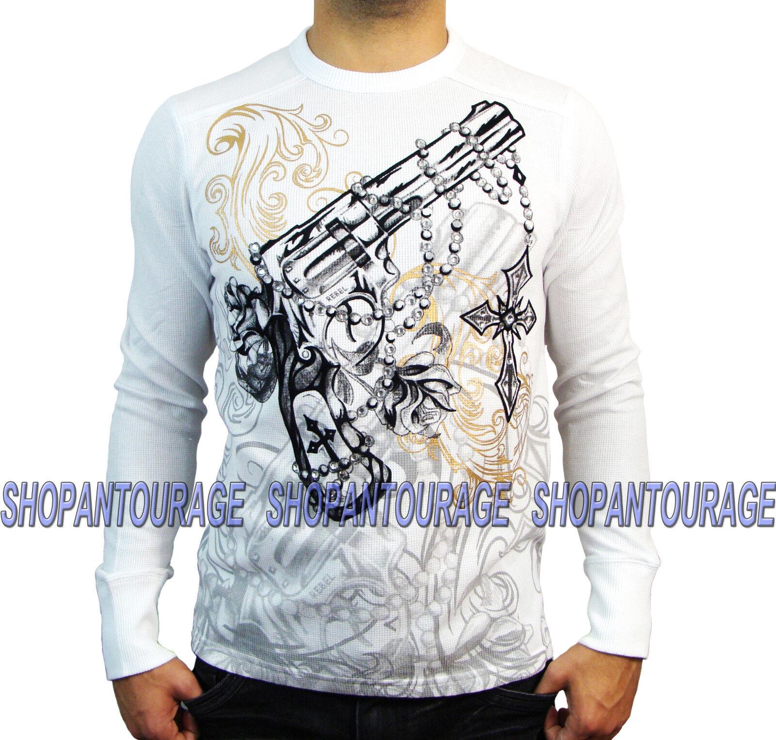 REBEL SPIRIT Pistol TH111113 New Men`s Long Sleeve Fashion Graphic Weiß Thermal