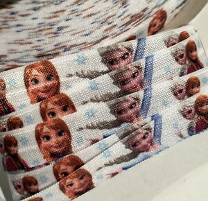 "3 Yards White cartoon character print 5//8/"" fold over elastic FOE"