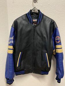 Polaris-Men-039-s-L-Leather-Jacket-Black-Blue-Coat-Snowmobile-Bomber-Vintage
