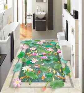 3d Lotus Pond Fond D'écran étage Peint En Autocollant Murale Plafond Chambre Art