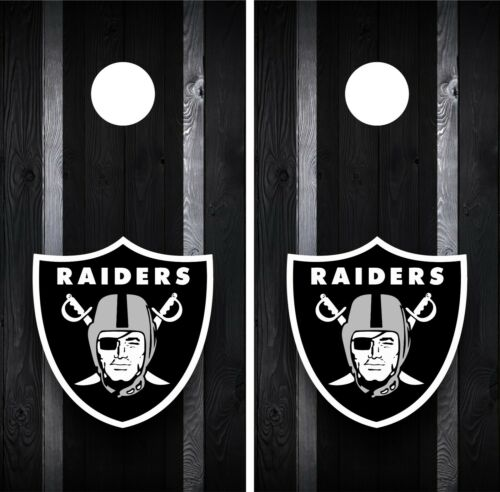 Oakland Raiders Cornhole Wrap Decal Stickers Vinyl Gameboard Skin Set JC075