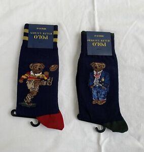 Lot 2 paires de chaussettes Polo Ralph Lauren Bear Rugby & Crest taille 39-42