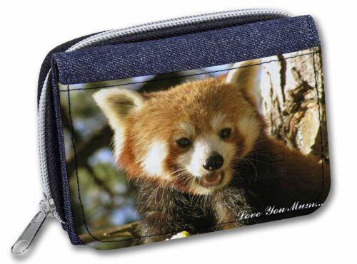 Red Panda Bear /'Love You Mum/' Girls//Ladies Denim Purse Wallet Christ ARP-1lymJW