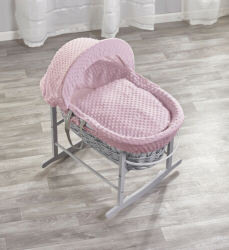 GREY WICKER//PINK DIMPLE PADDED MOSES BASKET AND GREY ROCKING STAND