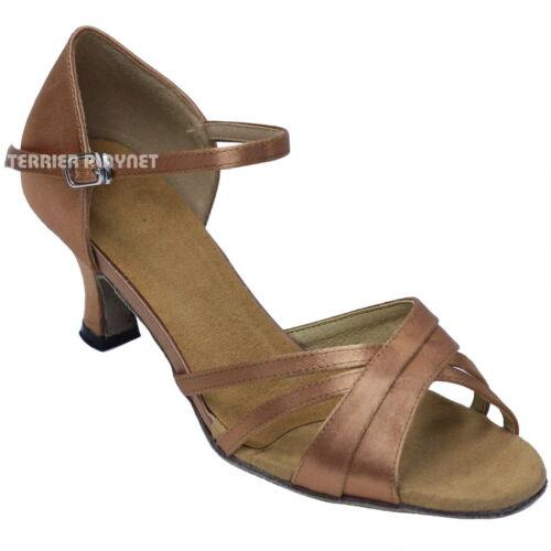 TPS Tan Satin Latin Ballroom Salsa Custom-made Dance Shoes D853