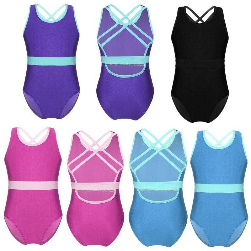 Girls Kids Ballet Gymnastics Leotard Sleeveless Bodysuit Cutout Back Dancewear