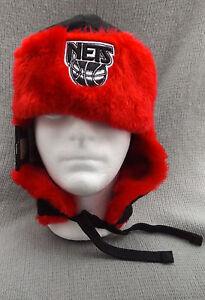 f41683f3f0b NBA Brooklyn Nets Red Black New Era Cap Snowflake Trapper Beanie ...