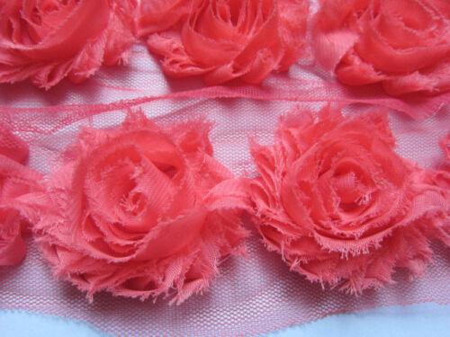 1 Yard Chiffon Flower Shabby Rose Trim-Coral CH005