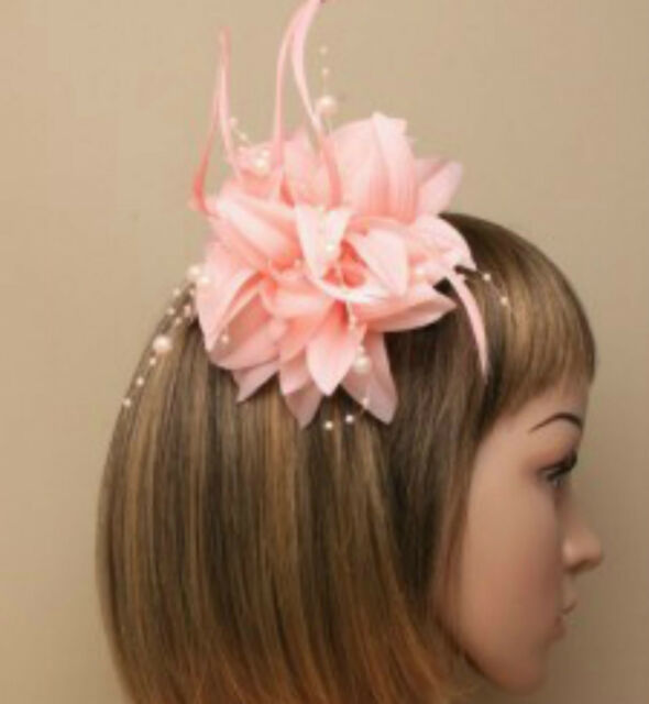 Light Coral Beaded Feather Fascinator Clip Brooch Pin Hat Races Wedding  Ascot 6 f9e4abad42f