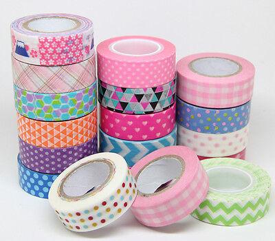 1.5cm x 10M DIY Roll Paper Sticky Adhesive Sticker Decorative Washi Decor Tape