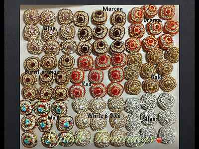 2cm 10 Beautiful brown flower /& gold diamante hook buttons for DIY crafts decor