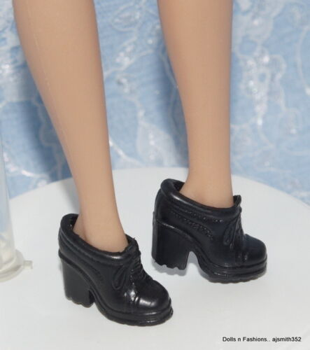 Barbie Doll Friends Black Lace-up Platform Loafers Fashion Heels Shoes