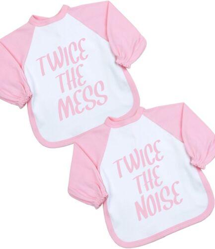 BabyPrem Baby Boys Girls Bib Feeding Love Twin Feed Me First Slogan Fun Gift