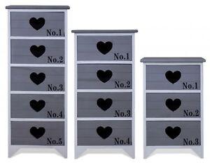 Details zu Kommode Schrank Schubladen Herz grau weiß Landhaus Shabby Chic  Vintage Zahlen