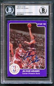 Alvan Adams #35 signed autograph auto 1985-86 Star Basketball Card BAS Slabbed