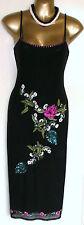 Beautiful Vintage Black Mesh  Embroidered & Sequin Dress by Karen Millen UK 12