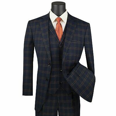 VINCI Men/'s Taupe Brown Glen Plaid 3 Piece 2 Button Classic Fit Suit NEW