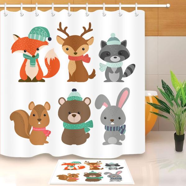 72 Lovely Deer Fox Bear Bathroom Waterproof Fabric Shower Curtain Hooks Mat Set