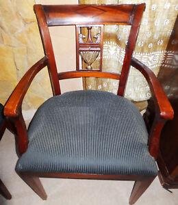 Armlehn-Stuhl-Sessel-Sitz-Moebel-Edelholz-antik-Biedermeier-Barock-Rokoko