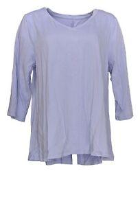 Denim-amp-Co-Women-039-s-Top-Sz-L-Essentials-Perfect-Jersey-V-Neck-Purple-A378202