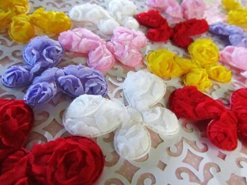 25 BIG Rose Brooch Fabric Floral Applique//trim//sewing//craft//bow H563-Butterfly