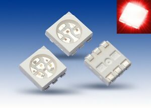 S924-20-Stueck-SMD-LED-PLCC-6-5050-rot-3-Chip-LEDs-red