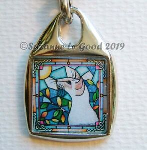 SIAMESE-CAT-art-Keyring-handbag-charm-lilac-original-painting-Suzanne-Le-Good