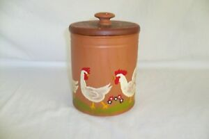 Hand-Painted-Rooster-Can-With-Wooden-Lid