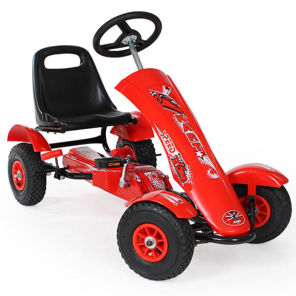 Go Kart per bambini a pedali con pedali go-kart design sportivo - rojo