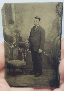 Antique-Victorian-Tintype-Photograph-Young-Man-w-Suit-Standing-Chair