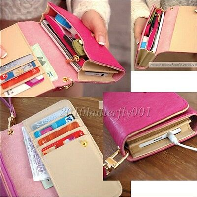 Candy Color Handy Women PU Leather Purse Lady Long Handbag Wallet Phone Case