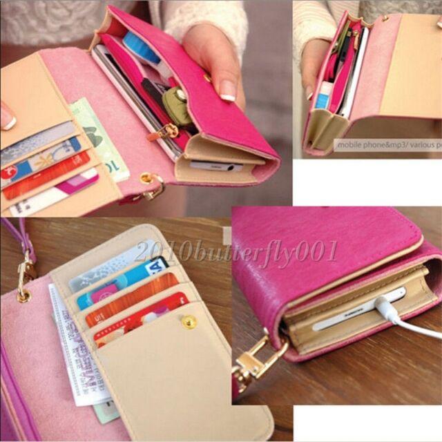 Candy Color Handy Women PU Leather Purse Lady Long Handbag Wallet Phone Case