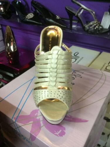 Oro Stile Bianco Gladiatore Ciabatte Molto Classy Plateau Moda E FxOwdEE