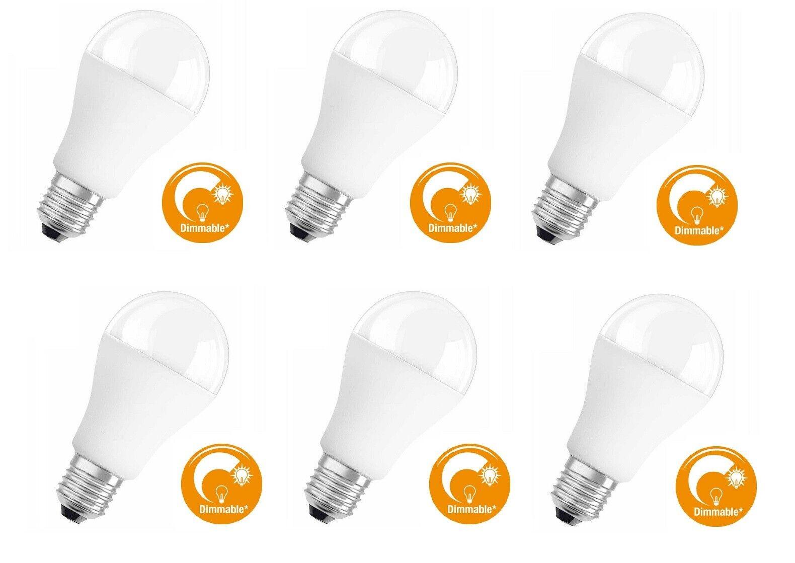 6x OSRAM LED Glühlampe    E27    dimmbar    15W = 100W    kaltweiß  4000K     A+