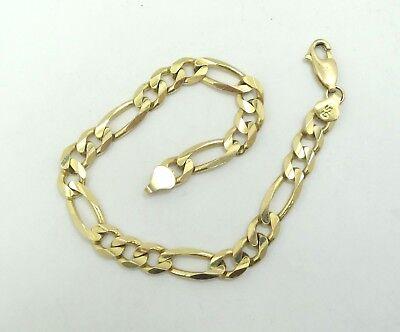 Spitz 10k Gelbgold 6.5mm Italienisches Diamantschliff Figaro Link Kette Armband Reich Und PräChtig