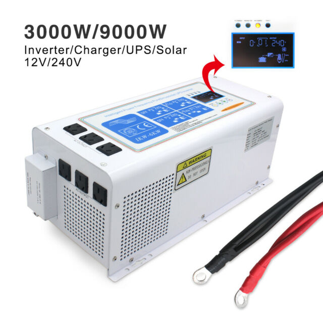 3000W 9000W Peak 12V to 240V Pure Sine Wave Power Inverter UPS Solar 50A Charger