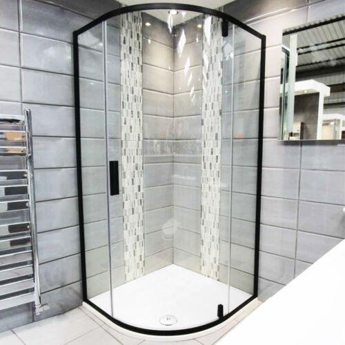 Black Quadrant Pivot Door Shower Enclosure And Tray Corner Cubicle 6mm Glass