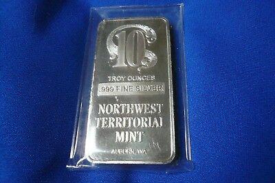 Northwest Territorial Mint NWTM .999 Silver bar Ten #136 10 Troy oz Rare