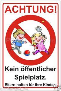Original Panneau Attention Pas De Public Terrain De Jeu Parents Responsables Pour Leurs Enfants P85-afficher Le Titre D'origine