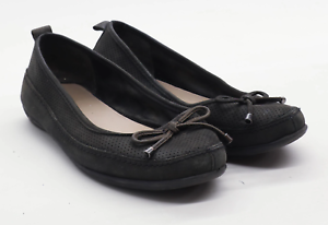 Marks-amp-Spencer-Womens-UK-Size-6-Brown-Leather-Bow-Dolly-Shoes