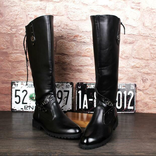 Winter Mens Riding Military Knee High Boots shoes Buckle Side Zip Strap Army War