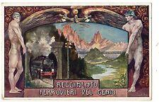 REGGIMENTO FERROVIERI  DEL  GENIO  TRENO  LOCOMOTIVA   PONTE  VIAGGIATA  1916
